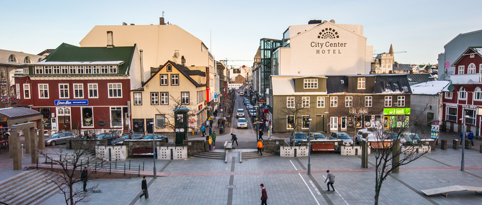 Reykjavik Square with Restaurants and Bars